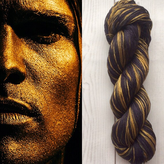 Mulberry Silk 100 Handdyed Yarn Hand Painted Gold Mask
