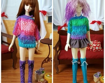 Stock 2 colors: BJD MSD SD Knitted colorful batwing sweater