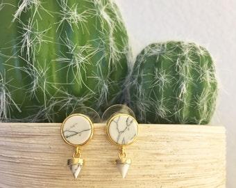 White Howlite Drop Stud Earrings ~ Gold