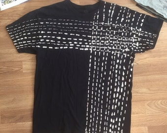 Adult XL black and white hand dyed cotton tee shirt in sashiko