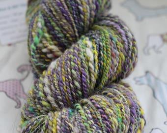 Hand spun yarn, 130gms 100% wool. DK.