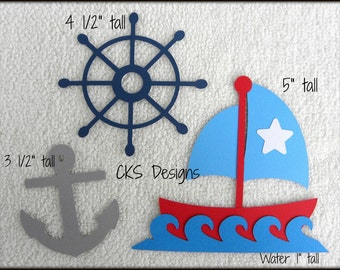 Die Cut Sailing Sailboat Premade Paper Piecing Embellishment for Card Making Scrapbook or Paper Crafts