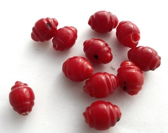 10pcs baroque red Coral beads. 8mmX5mm Red Coral loose beads,bracelet beads