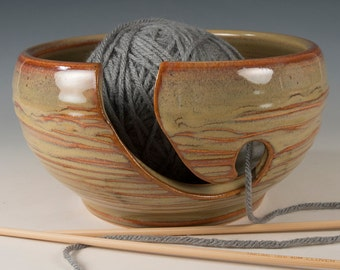 Yarn / Knitting Bowl - Textured Brown Glaze - Wheel Thrown Stoneware by Seiz Pottery