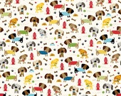 LAMINATED cotton fabric by the yard - Rover on cream EXCLUSIVE - Approved for children's products