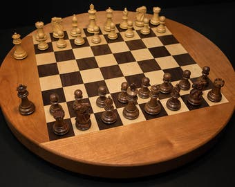 Handcrafted Tabletop Chess Set Small Round Chess Set Chess Block Hardwood Chess Game Complete Wooden Chess Set Christmas Gift Birthday Gift