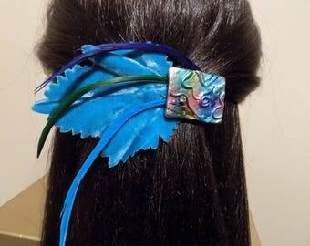Extra Large Barrette/ French Barrette/ Feather Clip