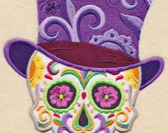 Calavera Skull Voodoo  Hoodoo Mexican Culture Dia De Los Muertos Sugar Skull Embroidered Flour Sack Hand Towel