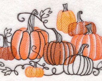 Pumpkin Patch Toile Embroidered Flour Sack Hand/Dish Towel