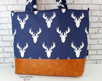 Extra Large Lulu Tote Overnight Diaper Bag Navy Antlers  and PU Leather - READY to SHIP Beach Dance Travel Bag 7 pockets Washable
