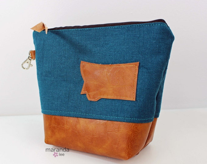 AVA Medium Clutch - Teal Linen with Montana Patch PU Leather  Cosmetic bag Travel Make Up Zipper Pouch