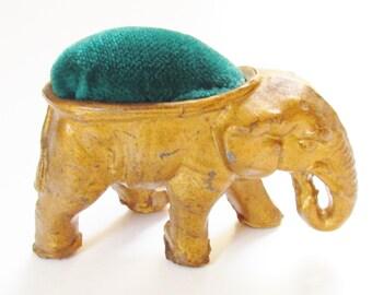 Vintage Elephant Gold Metal Pin Cushion Sewing
