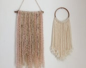 Better Together Blush Pink and Cream Wool Yarn Wall Hanging, Boho Chic, Minimalist Wall Art