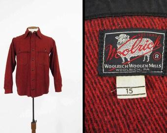 Vintage 50s Woolrich Jac Shirt Mackinaw Red Wool Hunting Cruiser Made in USA - Medium 15