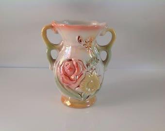Lusterware Flowered Vase, Double Handled Vase, Brazilian Lusterware Vase, Pearl Lusterware