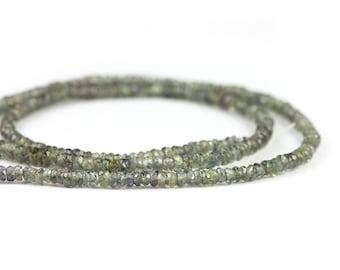 Sapphire Micro Faceted Rondelles 15 Pieces Green Precious Gemstones Birthstone