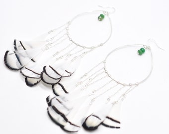Venus Emerald Hoop Earrings - Sterling Silver, Fine Gypsy Goddess, Hammered Festival Bohemian, Handmade Crystal Stone, Wire Wrapped, Unique
