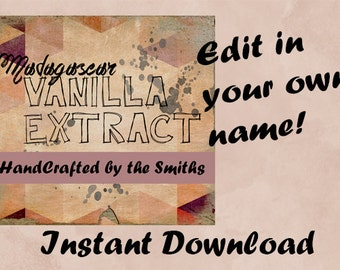 Customizable Madagascar Vanilla Extract Instant Download Template Label