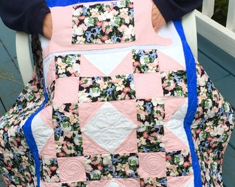 Floral Lovie Lap Quilt with Pockets