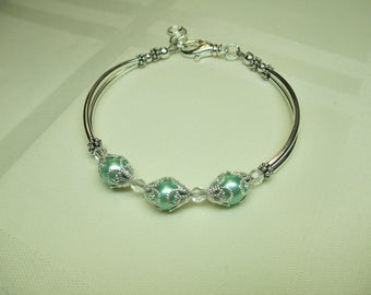 Crystal and Mint Green Triple Pearl Bracelet