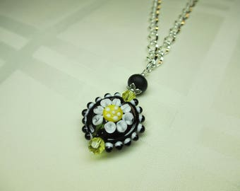 Black and White and Yellow Lentil Lampwork Bead Necklace