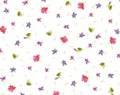 Adalee's Garden - Small Flowers Cream White by Sandy Lynam Clough from Red Rooster Fabrics