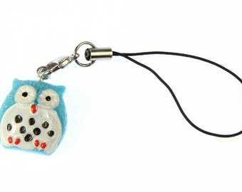 Owl Bird Mobile phone charm pendant Miniblings owl blue with white belly