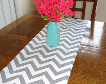 Grey Chevron Table Runner Zig Zag Table Top Runner Wedding Table Runner Grey & White Table Runners All Sizes