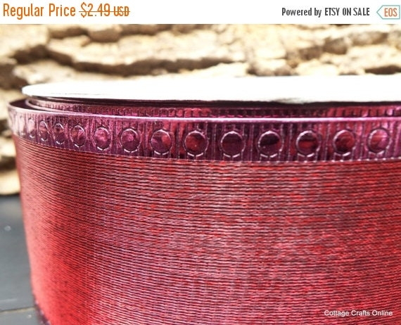 "EXTRA Savings CLEARANCE!! Christmas Wired Ribbon 2 1/2"" Burgundy Metallic Semi-Sheer - Three Yards - Offray Valentine, Fall Craft Wire Edged"