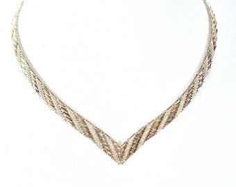 1970's Sterling Chevron Necklace, signed 925 Italy, Tricolor, Gold, Rose Gold, Silver, Safety Box Clasp, Quality, Gift Idea, Excellent