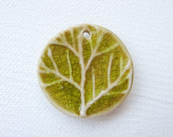 Woodland Green Tree Branch Pendant Stoneware Clay
