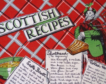 Vintage Scottish Recipes Tea  Dish Towel - Recipe Kitchen Towel -  Kitchen Decor - Collectible - Wall Hanging - Barware - Red White Linen