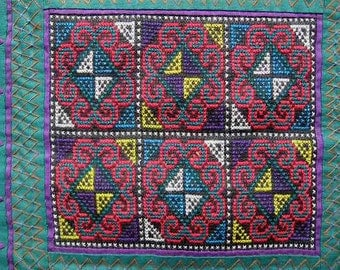 Vintage Hmong Story Cloth Panel; Hand Stitched Reverse Applique Embroidery; Tiny Cross Stitch; Symbol: Mountain, Fence, Snail, Diamond, Step