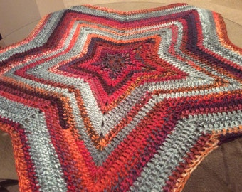 Handmade Red And Gray Star Blanket