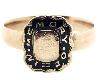 Antique Gold Mourning Ring with Black Enamel Decoration