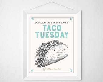 Mexican Kitchen Print - Make everyday taco Tuesday -Retro aqua cream vintage style motivational food tacos mexico funny food art decor 8x10