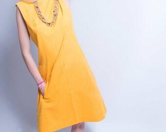 60s Mod Dress // Tangerine Dream A Line Linen Dress