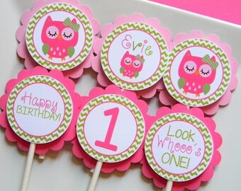 Owl Birthday Party Personalized Cupcake Toppers in Pink and Green - Party Decorations - Party Supplies - Custom Cupcake Toppers - Set of 12