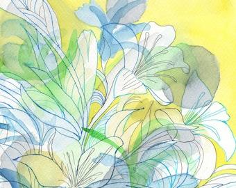 Yellow painting. Original watercolor painting. Floral art. Original wall art. Floral painting. Yellow decor. Small paintings