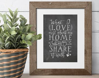 Living Room Decor - Housewarming Present - Farmhouse Decor - What I Love Most About My Home Is Who I Share It With - New Home Gift -Wall Art
