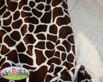 READY TO SHIP Minky Blanket - Brown and Cream Giraffe Print Minky with Cream Minky Dot