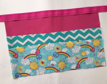 Classroom Apron- sunshine and rainbows (pink & teal)