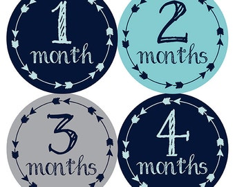 FREE GIFT, Tribal Arrow Month Stickers, Baby Month Stickers Boy, Navy, Aqua, Gray, Grey, Monthly Baby Stickers, Baby Boy, Month Sticker