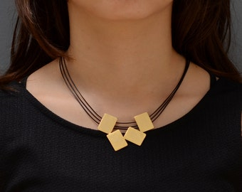 Gold bib necklace, gold and black necklace, short necklace gold, urban necklace modern necklace gold statement necklace statement necklace