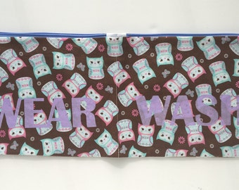 Lavender and Teal Owls Wear and Wash Travel Laundry Bag