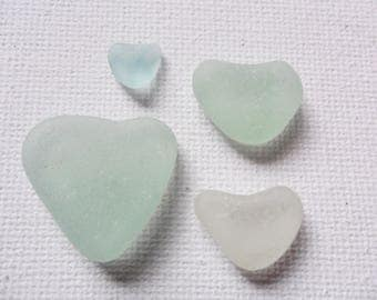 Lovely seafoam aqua and white sea glass hearts - 4 pretty English beach find pieces