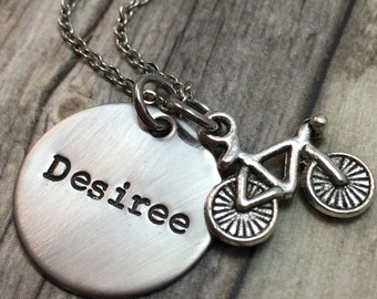 Bicycle necklace, hand stamped stainless steel necklace, cyclist,