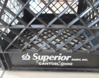 Vintage Superior Dairy Inc. milk crate Canton, Ohio black crate with white lettering