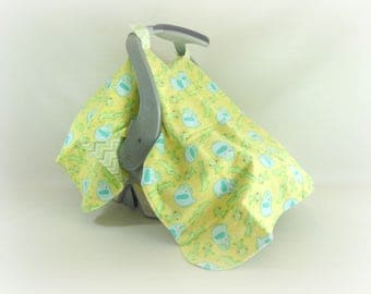 Car Seat Canopy, Car Seat Cover, Cart Cover, Play Blanket in Elephants Alligators & Green Chevrons