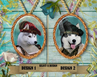Siberian Husky Jewelry. Husky Pendant or Brooch.  Husky Necklace. Husky Portrait. Custom Dog Jewelry by Nobility Dogs. Dog Handmade Jewelry